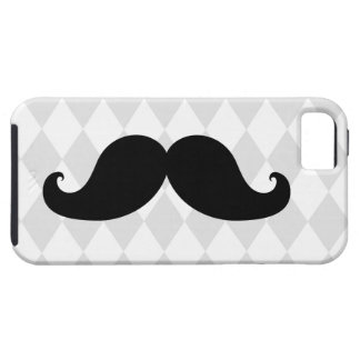Black Moustache Grey Diamond Pattern iPhone 5 Cover