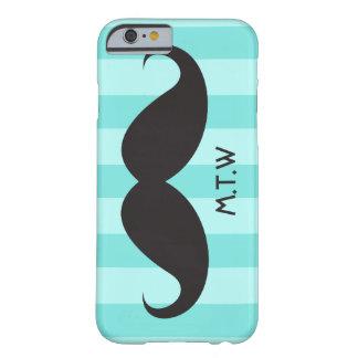 Black moustache monogram aqua iPhone 6 case Barely There iPhone 6 Case