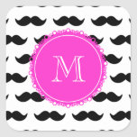 Black Moustache Pattern, Hot Pink Monogram Square Stickers