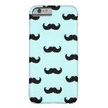 Black Moustache Pattern on blue