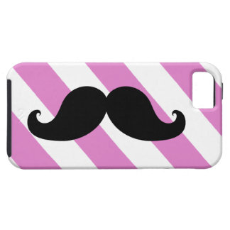 Black Moustache Pink Stripes iPhone 5 Covers