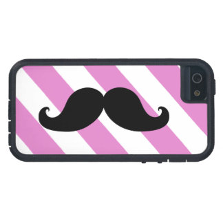 Black Moustache Pink Stripes iPhone 5 Cases