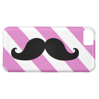 Black Moustache Pink Stripes iPhone 5C Cover