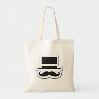Black Moustache with Cylinder Hat Tote Bags