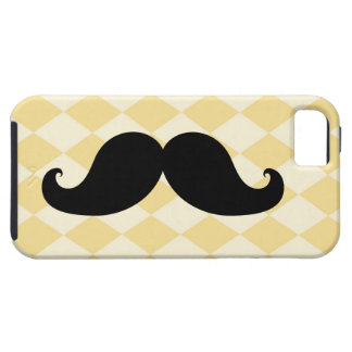 Black Moustache Yellow Diamond Pattern iPhone 5 Covers