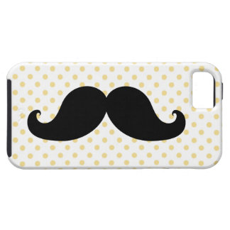 Black Moustache Yellow Polka Dots iPhone 5 Cases
