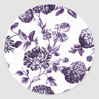 Black Mulberry Vintage Floral Toile No.2 Classic Round Sticker