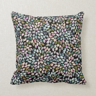 Black Multi-Colored Graphic Floral Throw Pillow