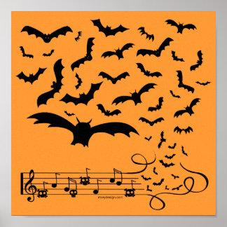 Black Music Bats Design Print