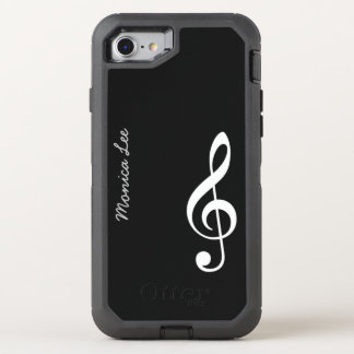 black music note OtterBox defender iPhone 8/7 case