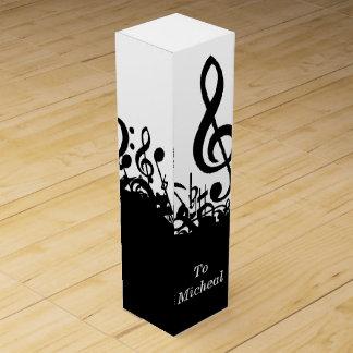 Black Music Notes Wine Box with Custom Name