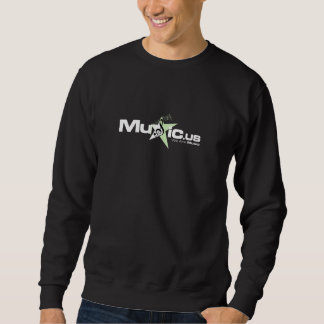 Black Music.us Sweater - White Light Green Logo Pull Over Sweatshirt