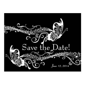 Black Musical Butterflies Save the Date Postcard