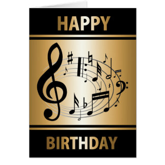 Black musical notes in oval shape on gold birthday
