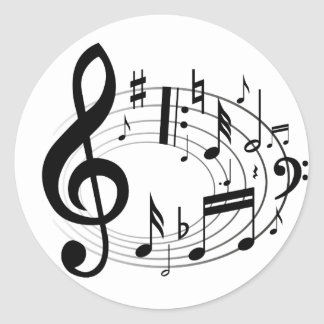 Black musical notes in oval shape round stickers