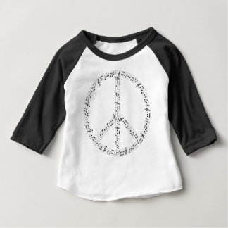 Black Musical Notes Round Peace Sign Baby T-Shirt