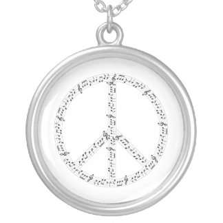 Black Musical Notes Round Peace Sign Round Pendant Necklace