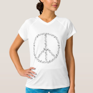 Black Musical Notes Round Peace Sign T-Shirt