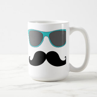 Black Mustache and Aqua Blue Sunglasses Humor Coffee Mug