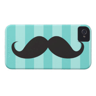 Black mustache and aqua stripes iPhone 4 case