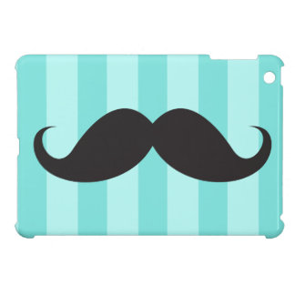 Black mustache and aqua stripes trendy case for the iPad mini
