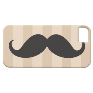 Black mustache and brown stripes iPhone 5 case