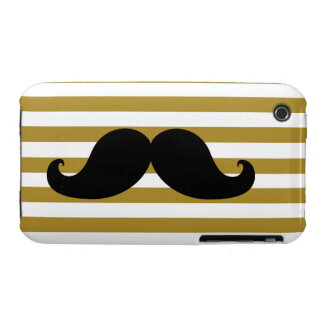 Black Mustache and Gold Stripes iPhone 3 Cases