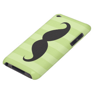Black mustache and green stripes iPod touch case