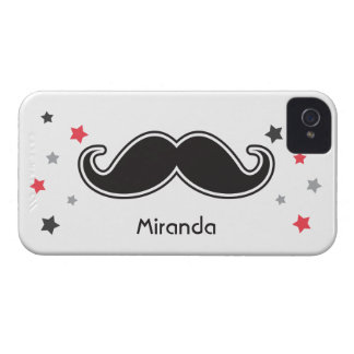 Black mustache and grey red stars fun personalized Case-Mate iPhone 4 cases