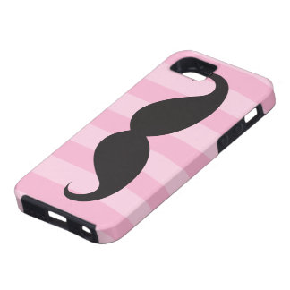 Black mustache and pink stripes iPhone 5 case