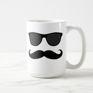 Black Mustache and Sunglasses Humor Coffee Mug