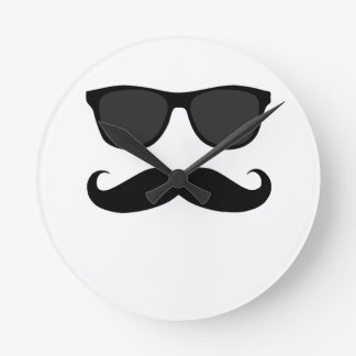 Black Mustache and Sunglasses Wall Clock