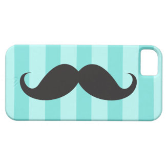 Black mustache and teal aqua blue stripes iPhone 5 covers