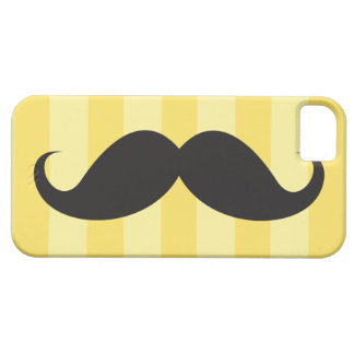 Black mustache and yellow stripes iPhone 5 case