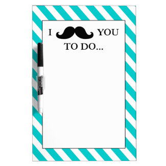 BLACK MUSTACHE | AQUA STRIPES DRY ERASE BOARD