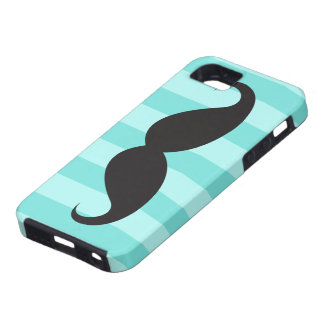 Black mustache aqua stripes iPhone 5 case