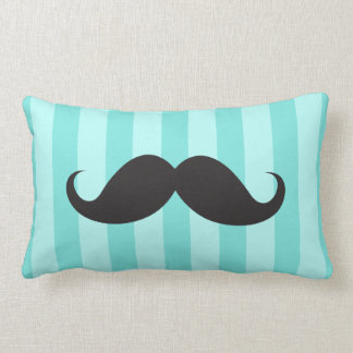 Black mustache aqua teal stripes funny pillow