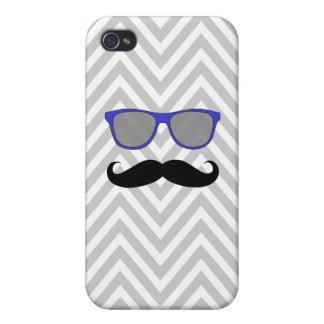 Black Mustache, Blue Sunglasses, Gray Chevron iPhone 4/4S Cases