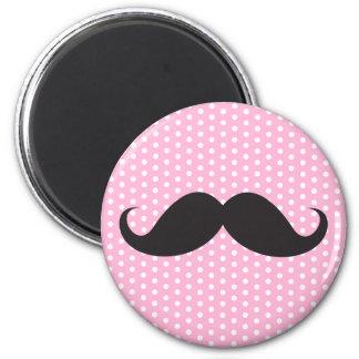 Black mustache chic pink polka dot trendy 6 cm round magnet