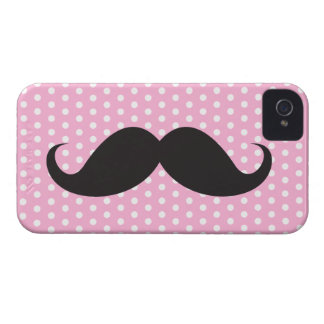 Black mustache chic pink polka dot trendy iPhone 4 Case-Mate case