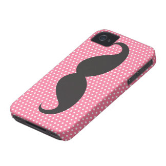 Black mustache chic pink polka dots funny trendy iPhone 4 case