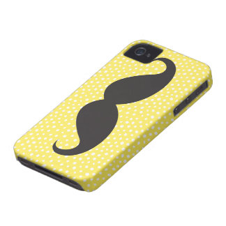 Black mustache chic whimsical yellow polka dot Case-Mate iPhone 4 case