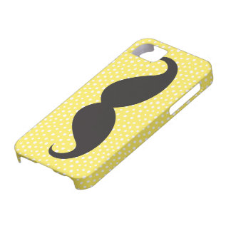 Black mustache chic whimsical yellow polka dot iPhone 5 cover