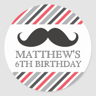 Black mustache gray red stripes birthday party round sticker