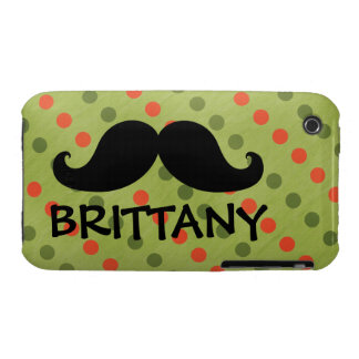 Black Mustache Green Red Polka Dots Name iPhone 3 Case-Mate Cases