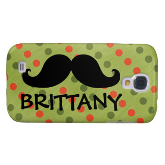 Black Mustache Green Red Polka Dots Name Samsung Galaxy S4 Cases