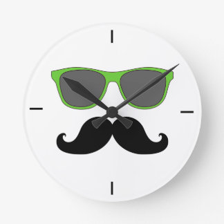Black Mustache Green Sunglasses Wall Clock