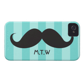 Black mustache monogram aqua iPhone 4 case