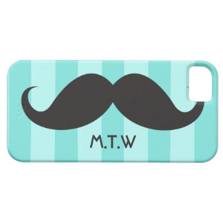 Black mustache monogram aqua iPhone 5 case