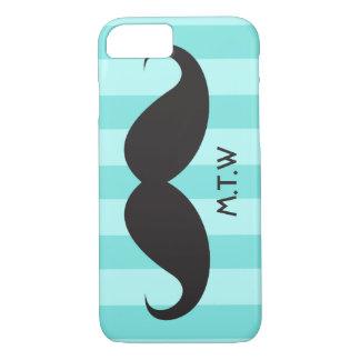 Black mustache monogram aqua iPhone 7 case
